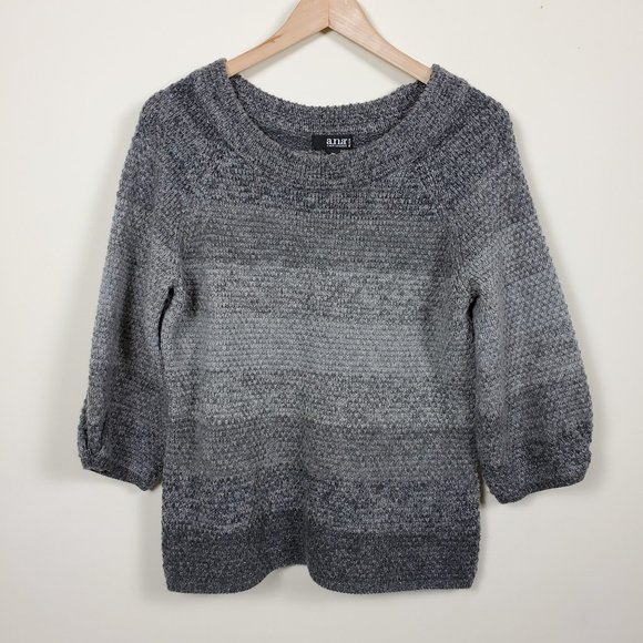 A.N.A. Striped 34 Sleeve Sweater Gray Size PM